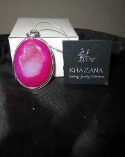 Buy NWT Khazana Large Oval Pendant Pink Druzy Geode .925 Sterling Silver Pendant New