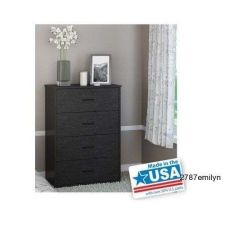 Buy 4 Drawer Storage Chest Dresser Bedroom Furniture Drawers Black Wood Grain Home