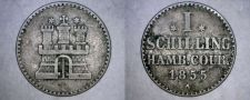 Buy 1855-A German States Hamburg 1 Schilling World Silver Coin