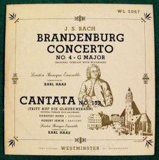 Buy J.S. BACH ~ Brandenburg Concerto No. 4, G Major / Cantata No. 152 Classical LP