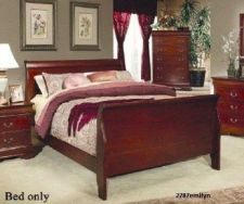 Buy California king size sleigh bed mansion bedroom furniture Cherry Luxury New