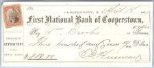 Buy New York Cooperstown Cancelled Check First National Bank of Cooperstown Ch~46