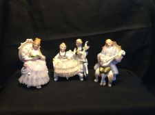 Buy antique german porcelain figurines . Trio of musicians