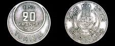 Buy 1950 (AH1370) Tunisian 20 Franc World Coin - Tunisia