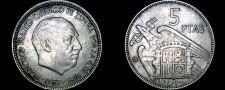 Buy 1957 (62) Spanish 5 Peseta World Coin - Spain