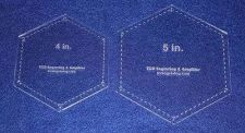 "Buy 2 Piece Set Laser Cut Hexagon Quilting Templates - 4"" & 5"" Clear Acrylic 1/8"""