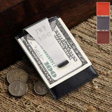 Buy Leather Money Clip and Card Holder - Free Personalization