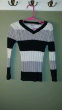Buy Children's Place Girls 5/6 Cotton Blend Black White Gray Striped V-neck Sweater