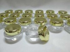 Buy 100 Empty Cosmetic Jars Pot Portable Acrylic Plastic Bottles Gold Color Caps 5 g