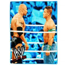Buy Blanket Throws Boy Fleece Plush WWE Rock Cena Brawl Blue Bedroom Sports Novelty