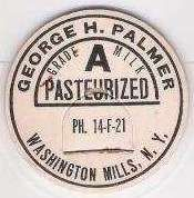 Buy New York Washington Mills Milk Bottle Cap Name/Subject: George H. Palmer G~215