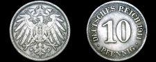 Buy 1911-E German 10 Pfennig World Coin - Germany