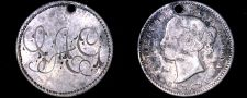 "Buy Victorian Era Love Token ""IAG"" on 1858-1901 Canadian 10 Cent Silver Coin - Holed"