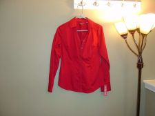 Buy Women's M Merona Red Career Long Sleeve Button-Down Cotton Blend Blouse NWT!!