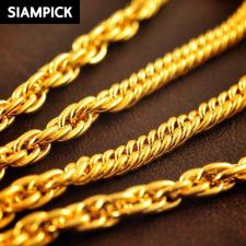 """Buy 24"""" Thai Baht Yellow Gold GP Curb Rope Chain Mens Necklace 22k 24k Jewelry N054"""