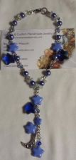 Buy star and moon blue czech glass and crystal handmade anklet