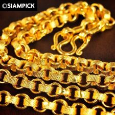 "Buy 24"" Thai 22k 24k Baht Yellow Gold GP Rolo Chain Long Necklace Mens Jewelry GF 82"