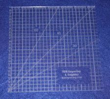 """Buy 6 1/2"""" Square Ruler. Acrylic 1/8"""" thick. Quilting/Sewing"""