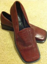 Buy Vertan Red Burgundy Snake Skin Loafer Shoes Women Size 7.5