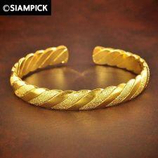 Buy 24k Hoop Braided Bangle Bracelet Thai Baht Yellow Gold GP Dangle Jewelry GF #03