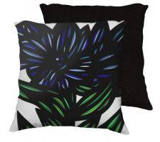 Buy Blackgoat 18x18 Blue Green White Black Pillow Flowers Floral Botanical Cover Cushion