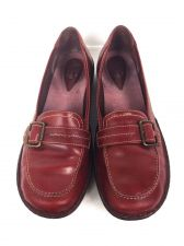 Buy Clarks Shoes 10 Womens Red Leather Loafers
