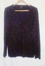 Buy EUC womens, Sz. 26W/28W GEORGE black/met. silver long sleeve, cardigan sweater