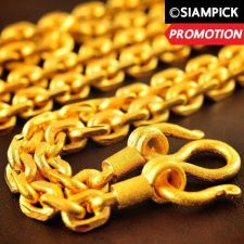 """Buy 28"""" Thai Baht 22k 24k Yellow Gold Plated GP Anchor Chain Necklace Jewelry N021"""