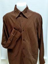 Buy 7 Diamonds Mens Dress Shirt Brown Pinstripe Button front L/S Large