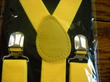 Buy New Suspenders Yellow retail packaged adult elastic leather Y back metal clip