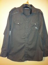 Buy RocaWear Gray Sage Button Down Long Sleeve Shirt Size XL(18/20)