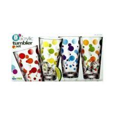 Buy DRINKING GLASSES PLASTIC 24 OZ ACRYLIC TUMBLER SET NEW SUMMER REFRESHER GLASSES
