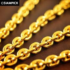 "Buy 24"" Thai Baht 22k 24k Yellow Gold Plated GP Anchor Chain Necklace Jewelry N023"