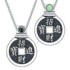 Buy Yin Yang Lucky Coin Amulet BaGua Magic Kanji Forces of Nature Green Quartz 18 Inch Pe