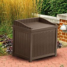 Buy NEW Suncast Mocha Resin Wicker 22-Gallon Storage Seat Box Outdoor Pool