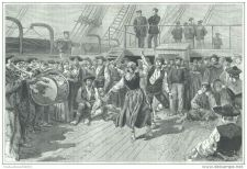 Buy ARGENTINA - EMIGRANTS ON THE SHIP'S DECK - engraving from 1887