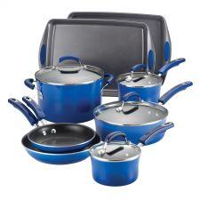Buy Rachael Ray Porcelain Enamel II Nonstick 12-Piece Cookware Set, Blue Gradient