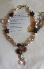 Buy star and moon pink mauve and purple handmade anklet sizing available
