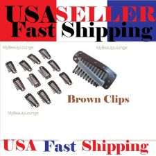 Buy 50 Brown Coated Hair Or Wigs Clips - Ready To Ship Now