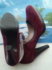 Buy WESTILS WOMEN'S RED SUEDE HEEL SHOES SIZE 10 .