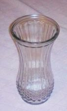 Buy EUC, HOOSIER clear glass vase #4088-C vertically lined w/ diamond pattern base