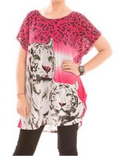 Buy Fuchsia Short Sleeve Tunic Top