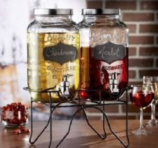 Buy NEW Beverage Drink Dispenser Glass Mason Jar Blackboard Wine Lemonade Tea Set