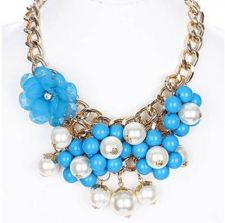 Buy Blue Pearl Flower Necklace