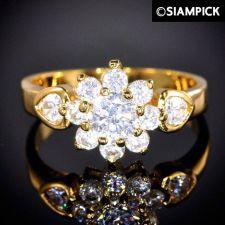Buy 24k CZ White Wedding Engagement Ring Thai Baht Yellow Gold GP Size 6.5 Jewelry 9