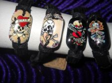 Buy Leather Bracelet Tattoo Skull designs Love Kills Hearts Rose Cards cuff 4 lot