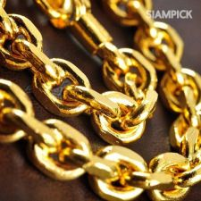 """Buy 24"""" Thai Baht 22k 23k 24k Yellow Gold Plated GP Chain Necklace Mens Jewelry N011"""
