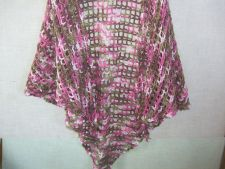 Buy Hand Crocheted Pink CamoAcrylic Lacy Woman's Shawl Wrap