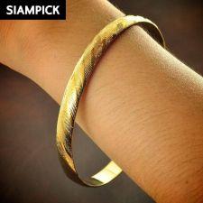 Buy 22k 24k Stack Thai Baht Yellow Gold Plated GP Bangle Bracelet Jewelry New B099