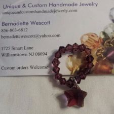 Buy star purple glass and crystal handmade ring can be made in any size
